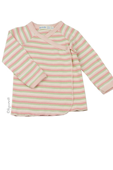 Organic Long Sleeve Side Snap Baby T-shirt (Pink Stripes)