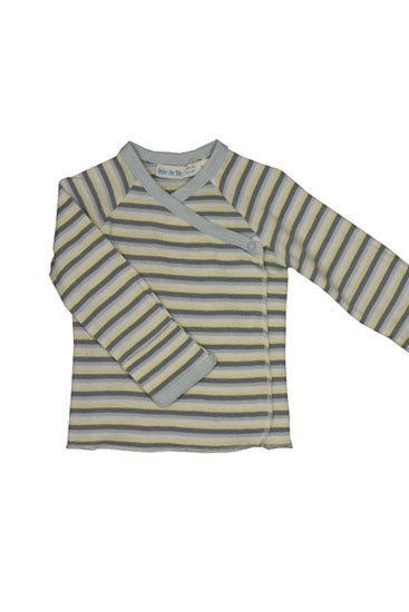 Organic Long Sleeve Side Snap Baby T-shirt (Blue Stripes)