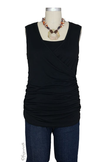 Izzy Wrap Ruched Sleeveless Nursing Top (Black)