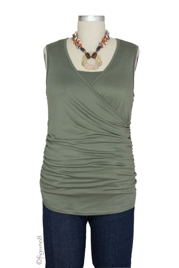 Izzy Wrap Ruched Sleeveless Nursing Top (Olive)