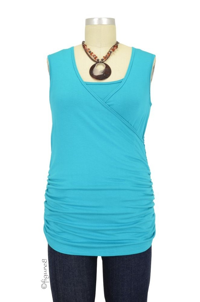 Izzy Wrap Ruched Sleeveless Nursing Top (Turquoise)