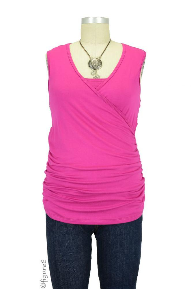 Izzy Wrap Ruched Sleeveless Nursing Top (Raspberry)