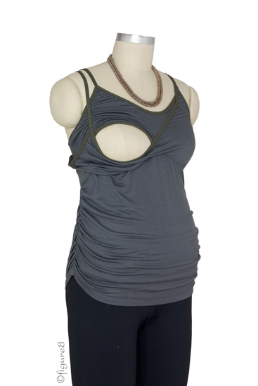 D Amp A Ruched Nursing Camisole In Smoke By Japanese Weekend