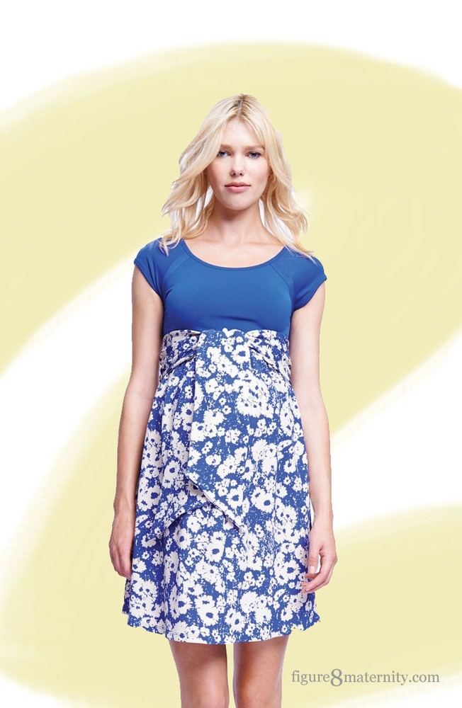 c676ca241e438 Hayden Scoop Neck Front Tie Maternity Dress in Blue/Abstract Daisy by  Maternal America