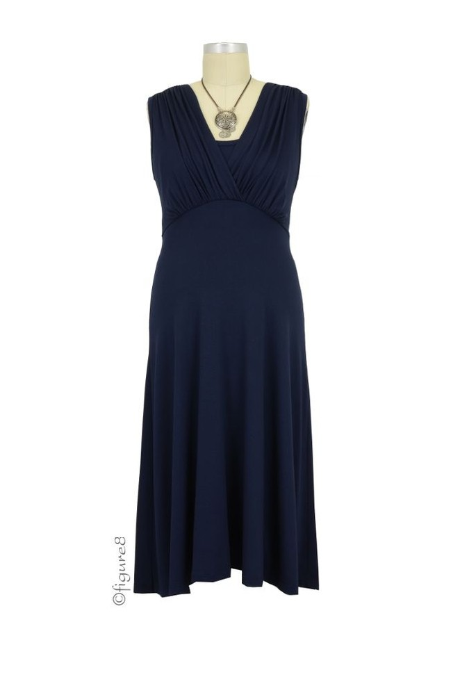 Lila Tummy Tuck Nursing Dress (Navy)