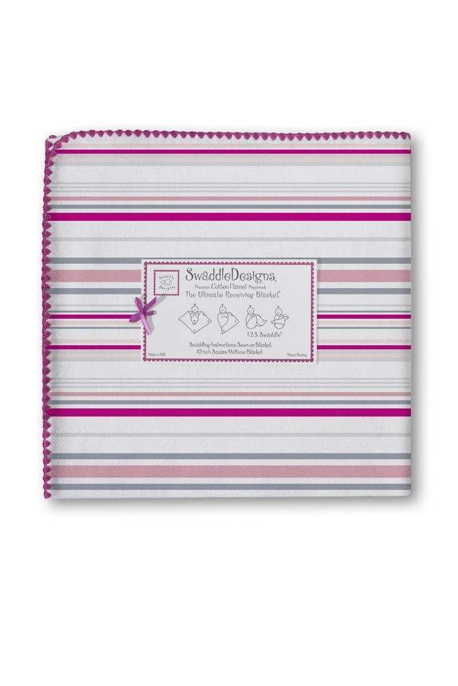 Swaddle Designs Ultimate Receiving Blanket (Very Berry Stripes)