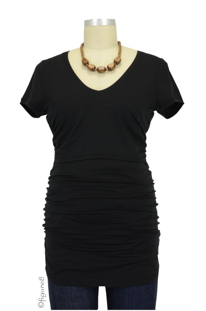 Boob V-Neck Before & After Nursing Top (Black)