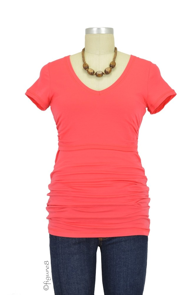 Boob Design V-Neck Before and After Nursing Top (Neon Red)