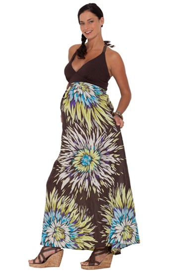 Elsie Floral Maxi Maternity Dress (Brown Mix Print)