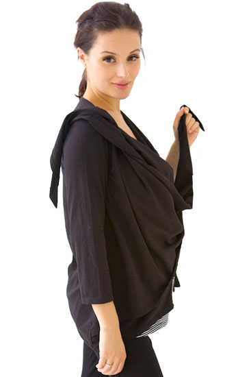 Belly Boudoir Button Nursing Cardigan (Black)