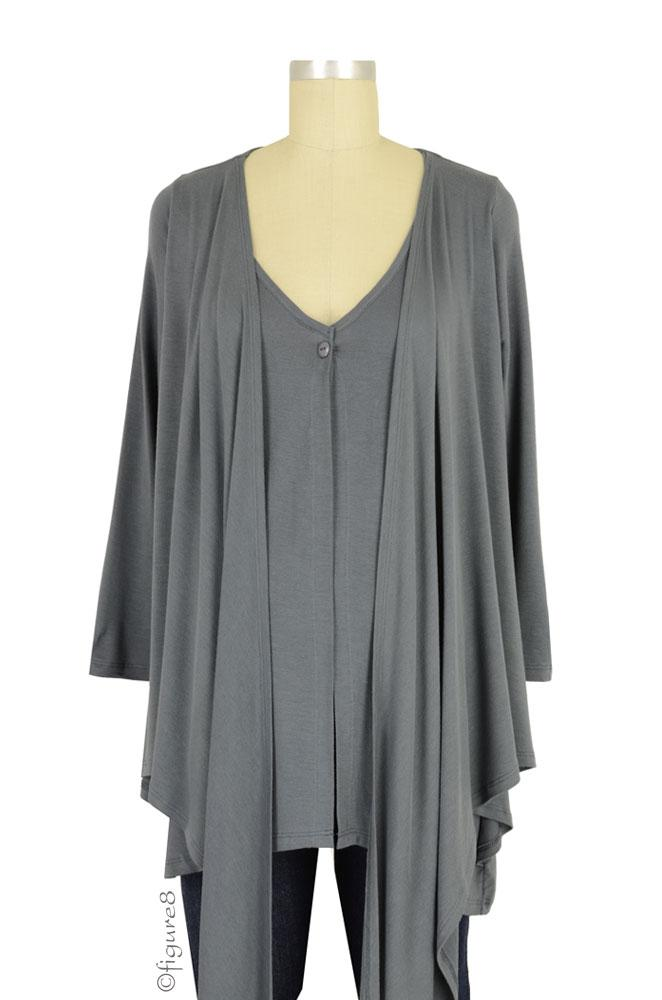 Belly Boudoir Button Nursing Cardigan (Gunmetal)