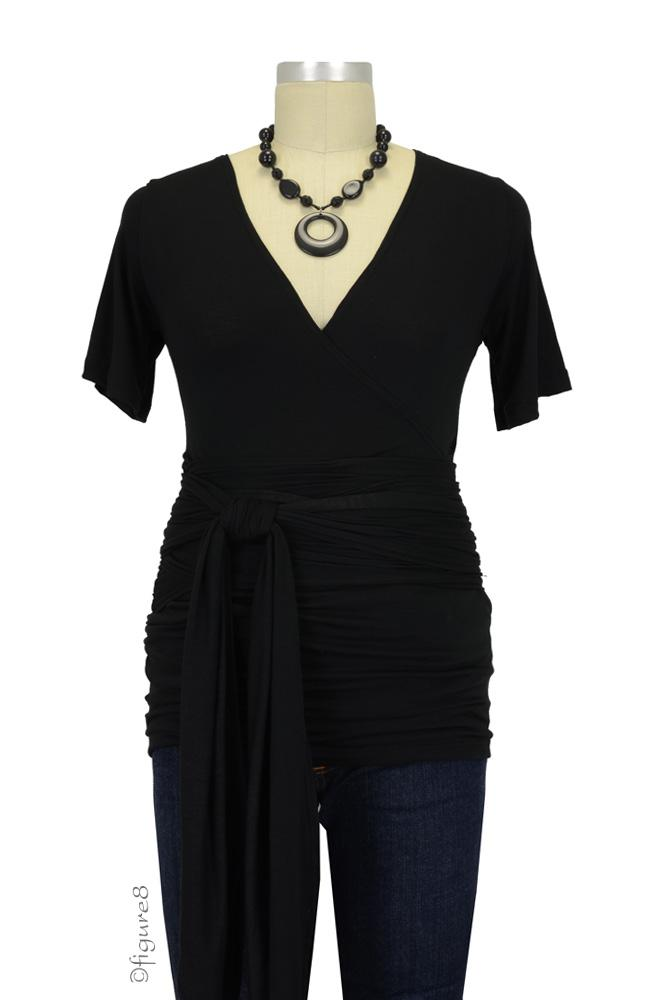 The Bella Wrap Around SS Maternity Top (Black)