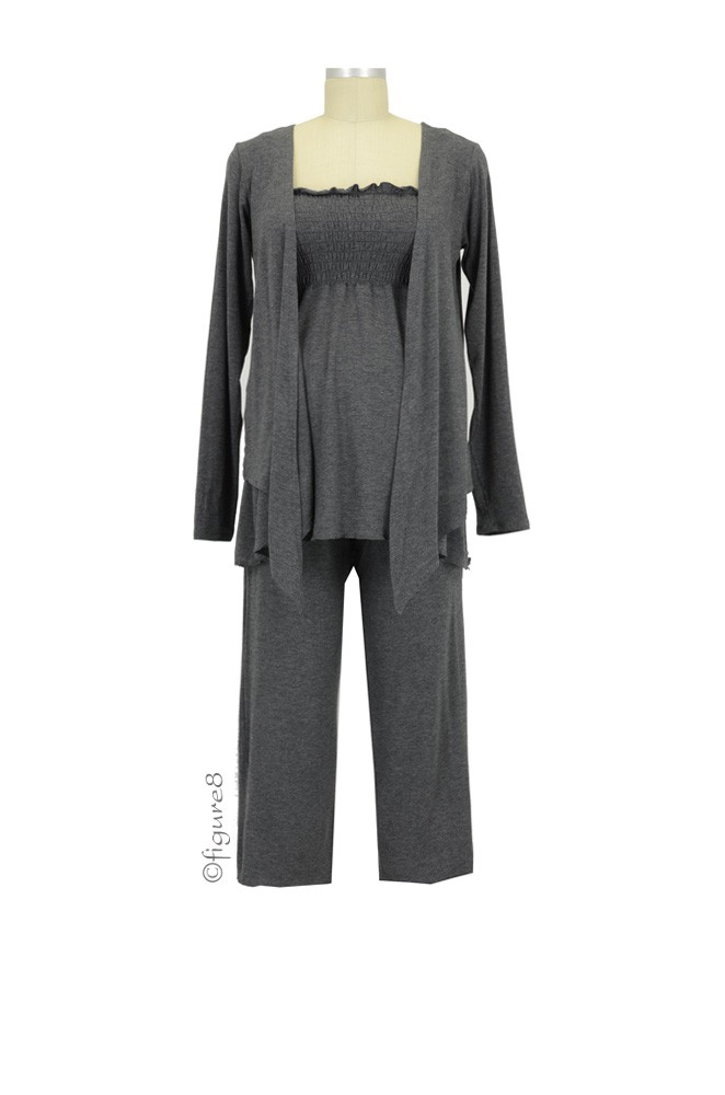 La Leche 3-Piece Nursing PJ Set (Charcoal Heather)