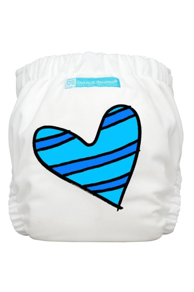 Charlie Banana® 2-in-1 One Size Reusable Diapers (Blue Petit Coeur on White)