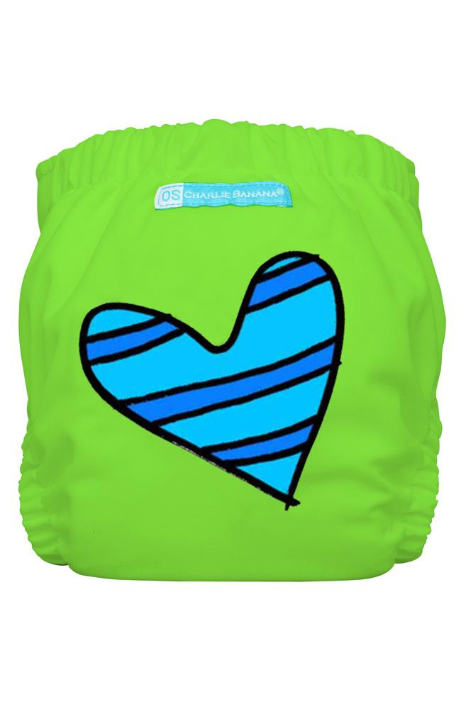 Charlie Banana® 2-in-1 One Size Reusable Diapers (Blue Petit Coeur on Green)