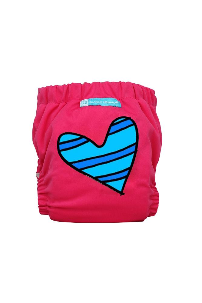 Charlie Banana® 2-in-1 One Size Reusable Diapers (Blue Petit Coeur on Hot Pink)