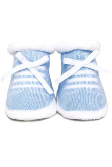 Trumpette Newborn Johnny's Booties (White/Blue)
