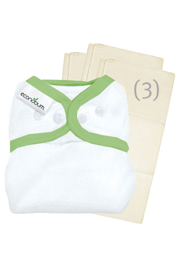 Econobum Prefold Pack (White with Ribbit Trim)