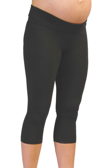 Cotton Capri Maternity Leggings (Black)
