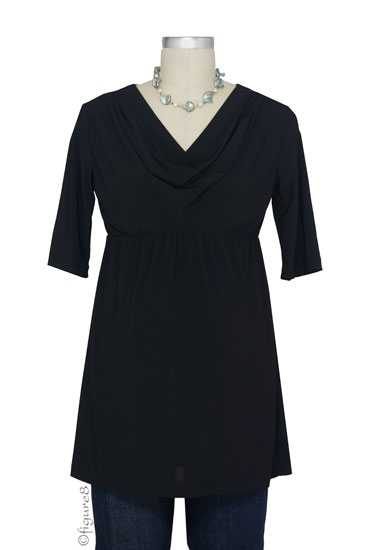 Carrie D&A Cowl Neck Nursing Tunic (Black)
