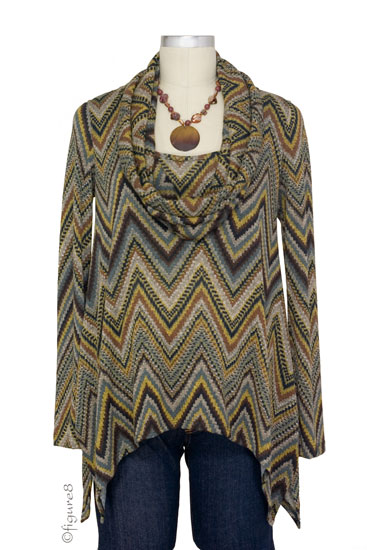 Sabra Cowl Neck Nursing Sweater (Ziggy Print)