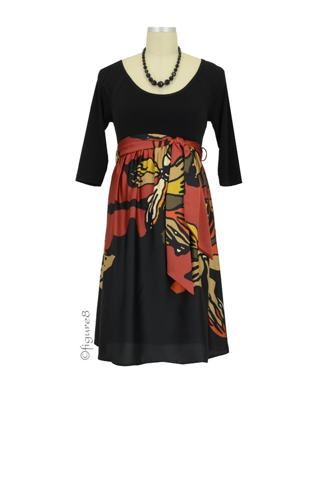 MA Scoop Neck Front Tie Maternity Dress (Black & Orange Orchid Print)