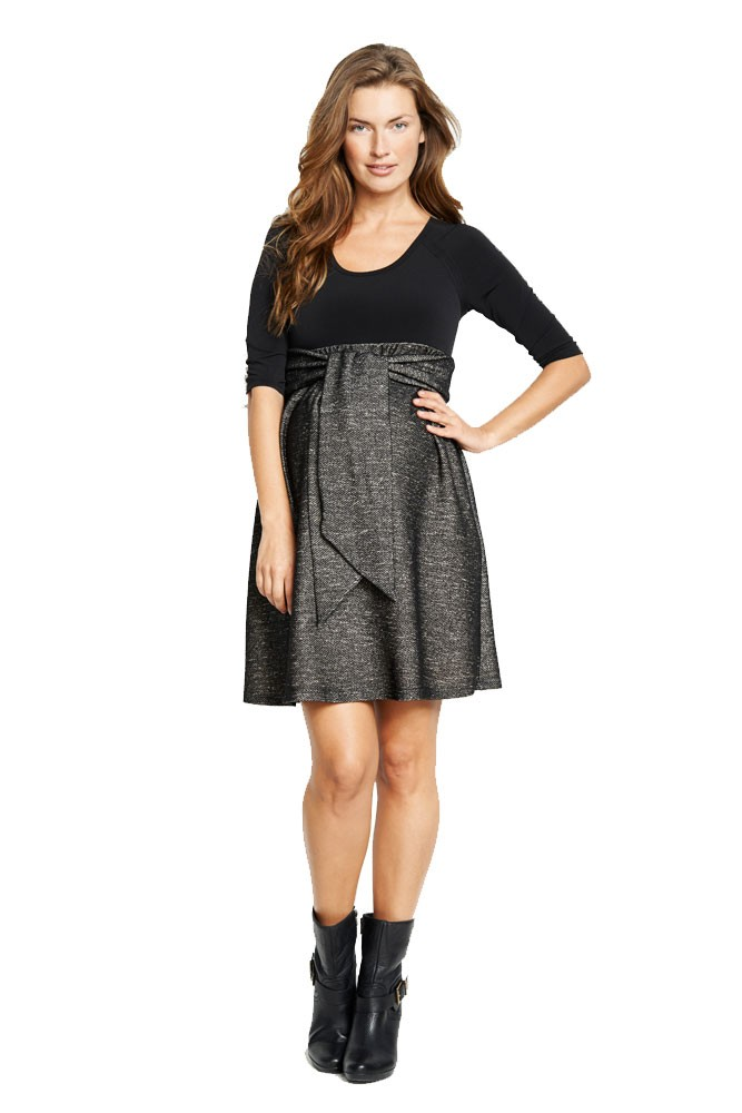 Avery Scoop Neck Front Tie Maternity Dress (Black/Black Twill)