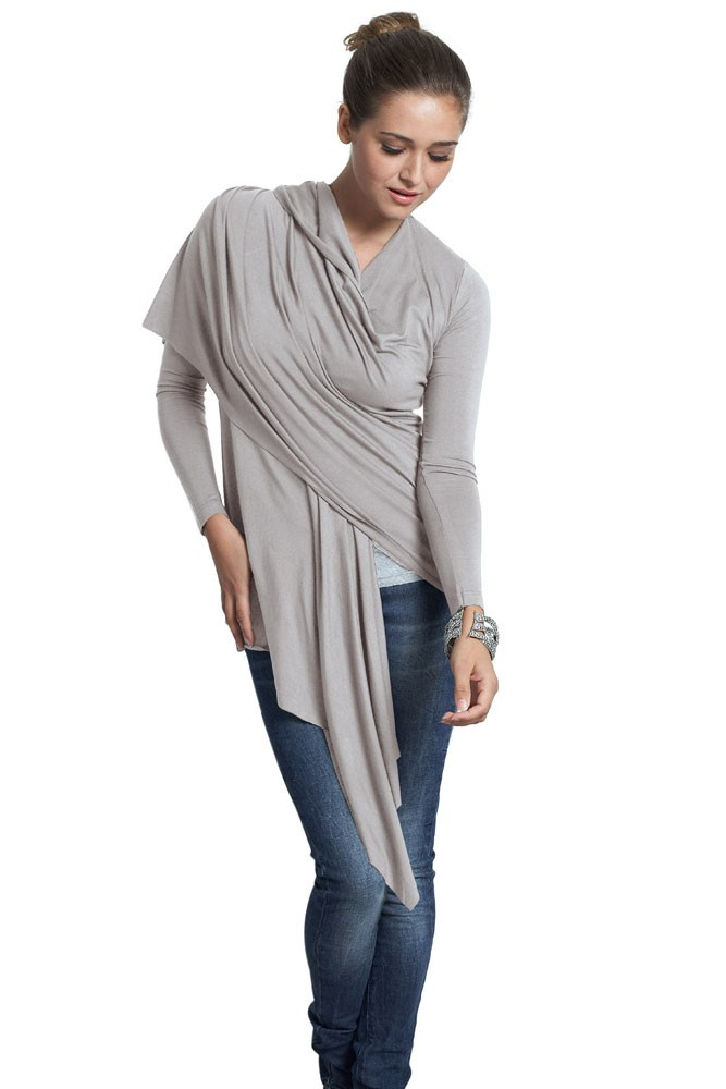 Sangha Waterfall Nursing Wrap (Light Taupe)