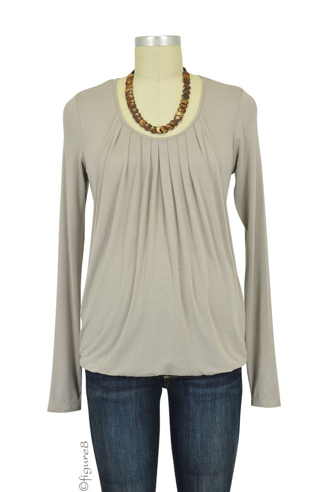 Slouchy Pleated Long Sleeve Maternity & Nursing Top by Mothers en Vogue (Light Taupe)