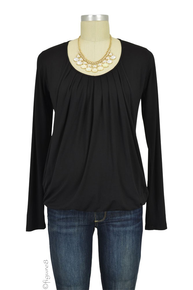 Slouchy Pleated Long Sleeve Maternity & Nursing Top (Black)