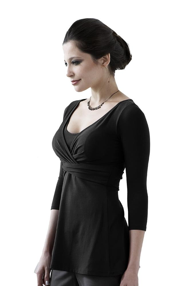 Tami 3/4 Sleeve Wrap Nursing Top (Black)