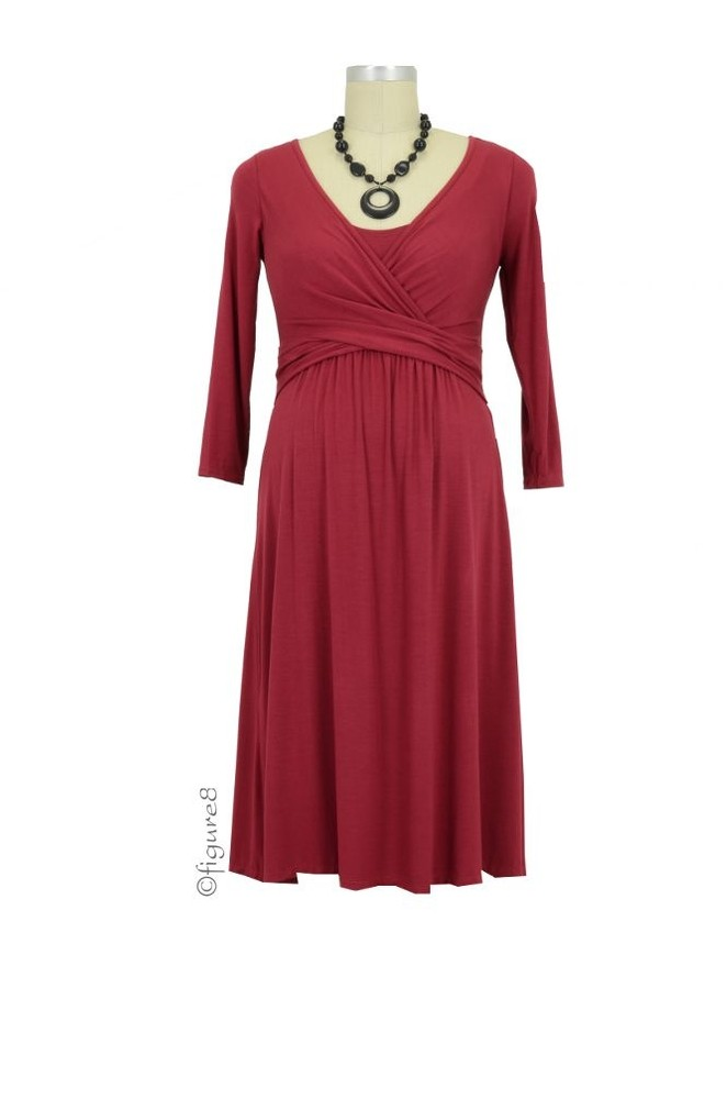 Ilana Cross Wrap Nursing Dress (Deep Garnet)