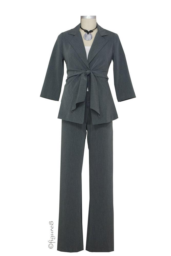 Audrey 3/4 Sleeve Front Tie Jacket, Skirt & Relaxed Pant - 3-pc Suit Set (Charcoal)