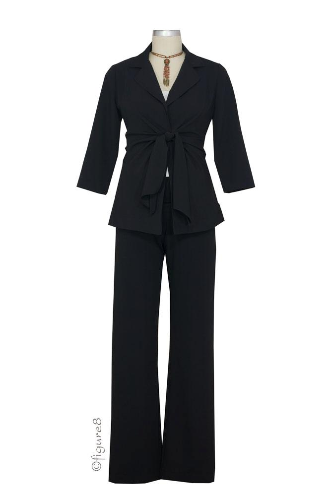 Audrey 3-Pc. Maternity  Relaxed Pant & Skirt Suit (Black)