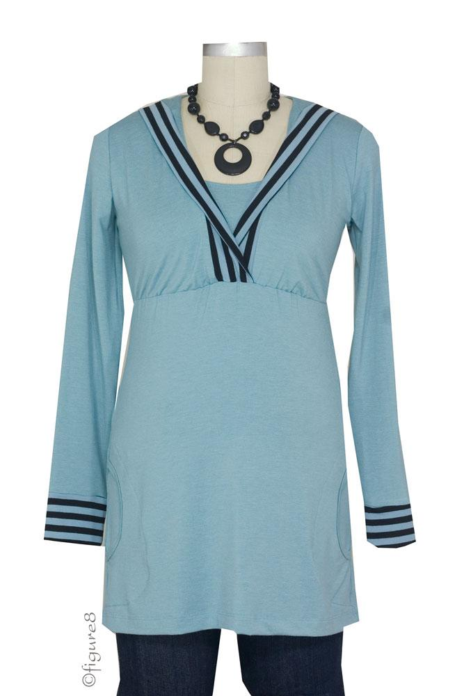 JW Nursing Hoodie Trimmed in Stripes (Blue with Blue Stripes)