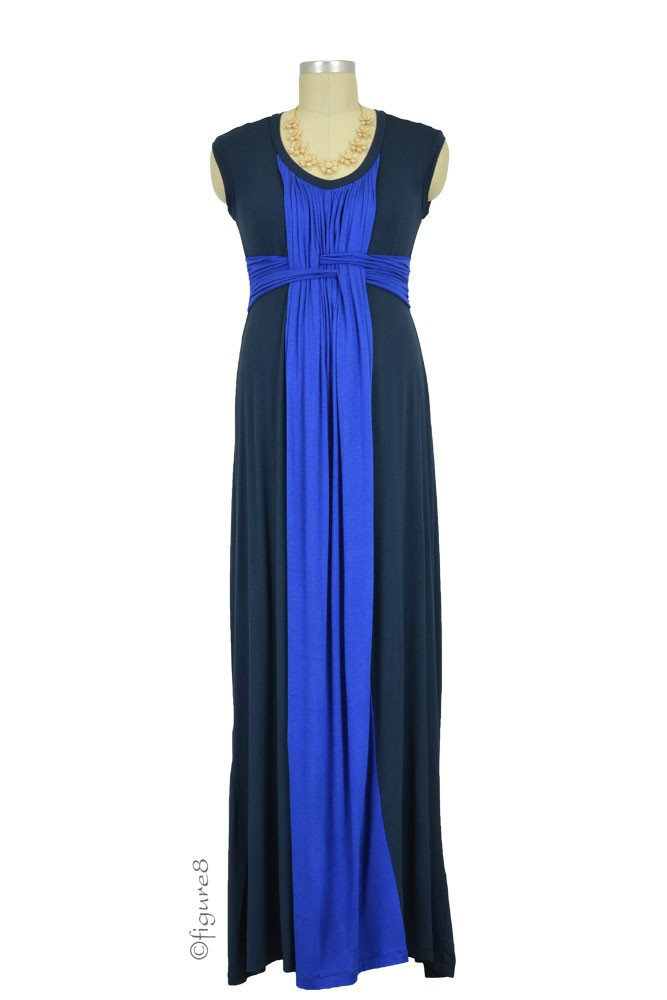 Arianna Basket Weave Maxi Nursing Dress (Navy & Royal)