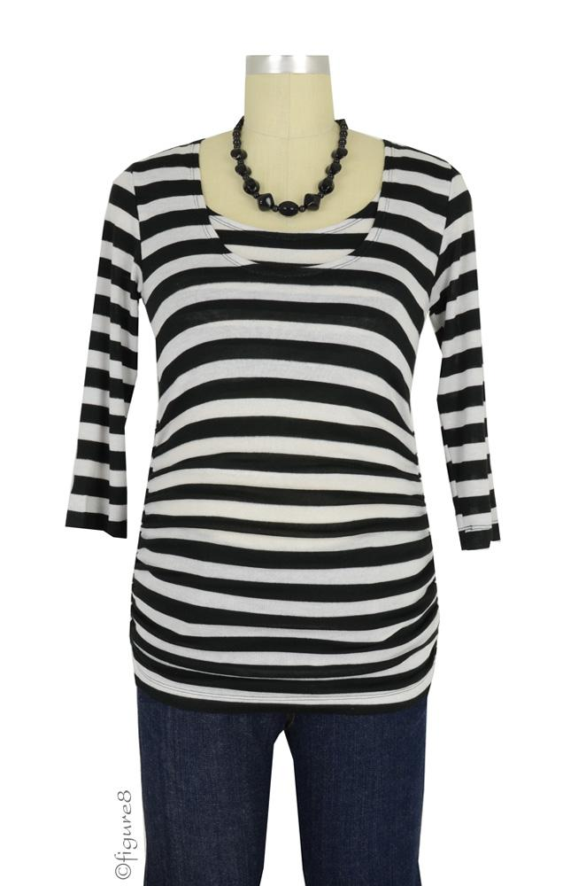 D&A Dramatic Stripes Drape Nursing Top (Black & White Stripes)