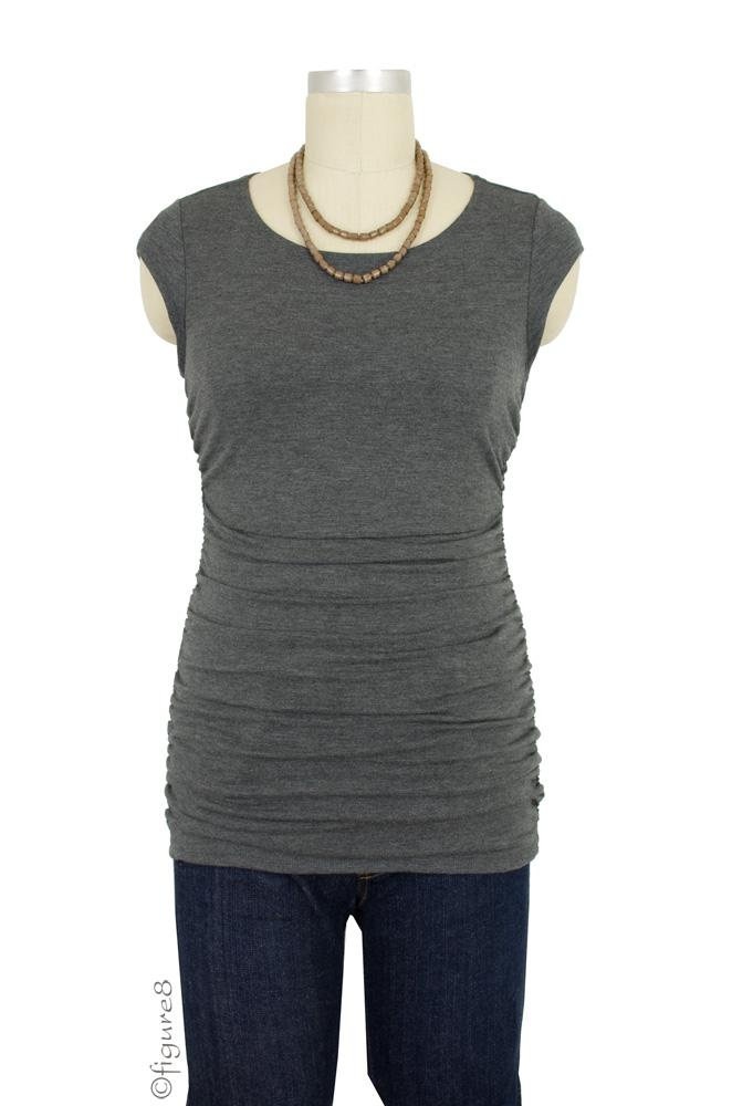 Peek-a-boo Cap Sleeve Nursing Top (Charcoal Grey)
