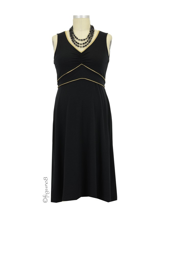 Cora Nursing Dress (Black with Gold Piping)