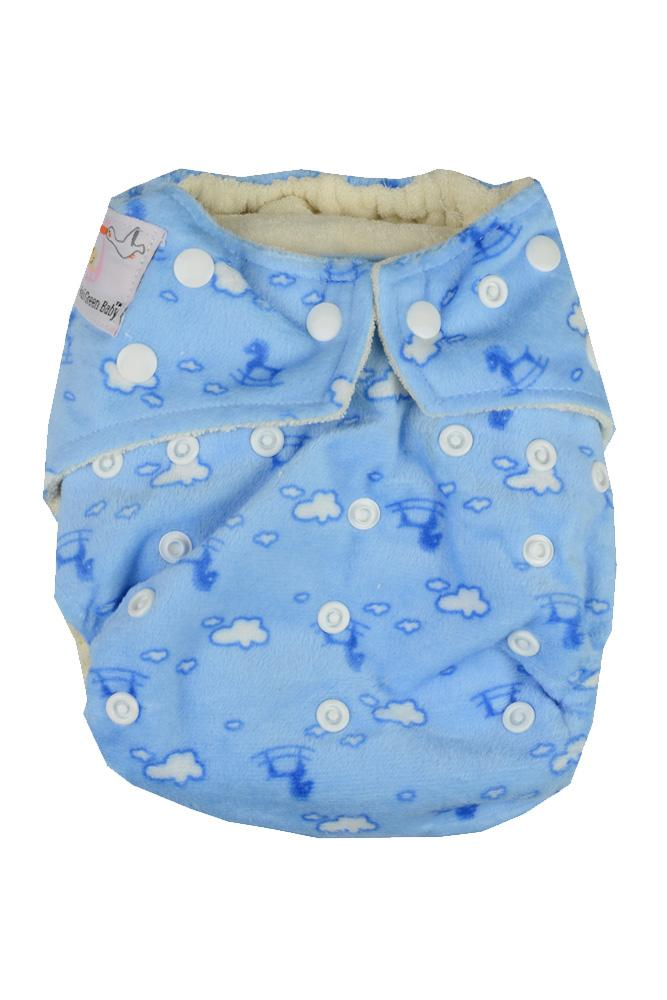 Kawaii Bamboo Minky Mom Collection Cloth Diaper (Blue Rocking Horse)