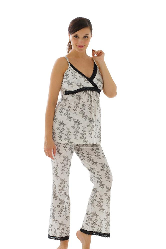 Jasmine Nursing Cami and Pant Set (Black & White Floral)