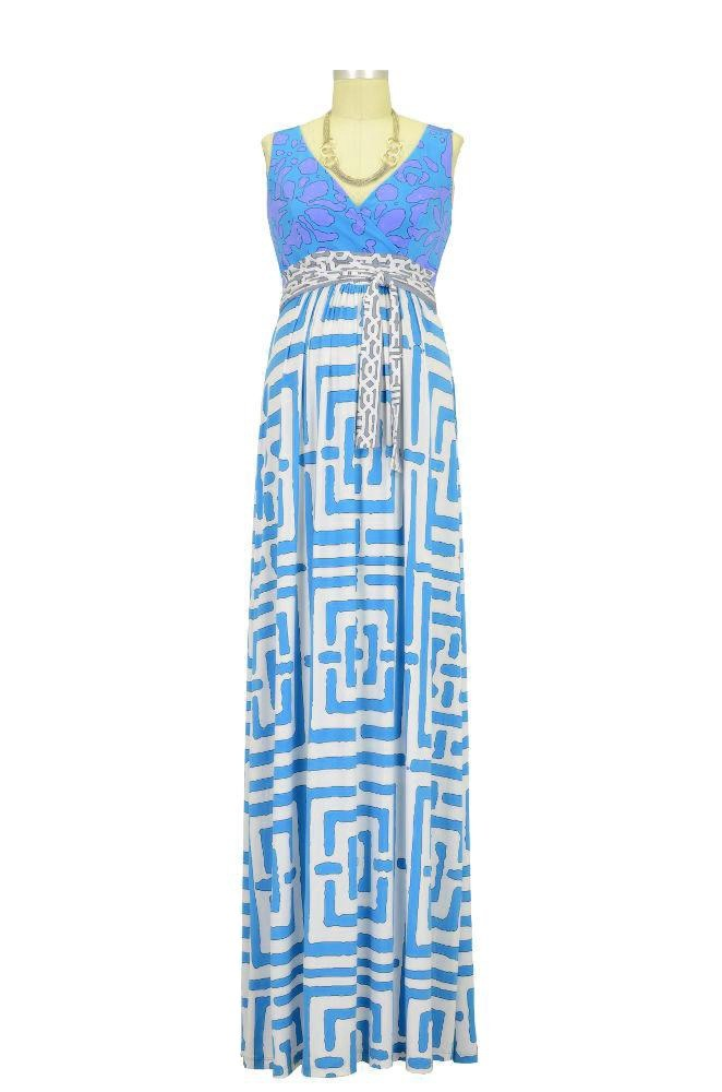 Mina Maxi Maternity Dress (Blue Geometric Print)