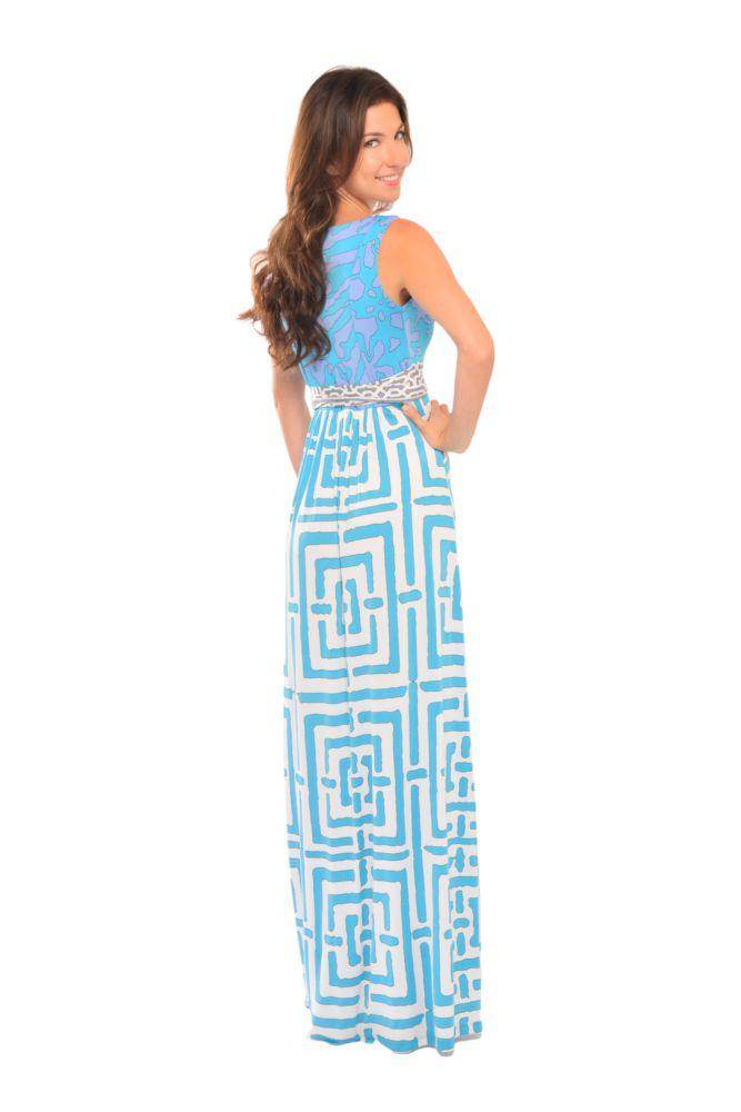 Olian maternity blue geo print brooke maxi dress