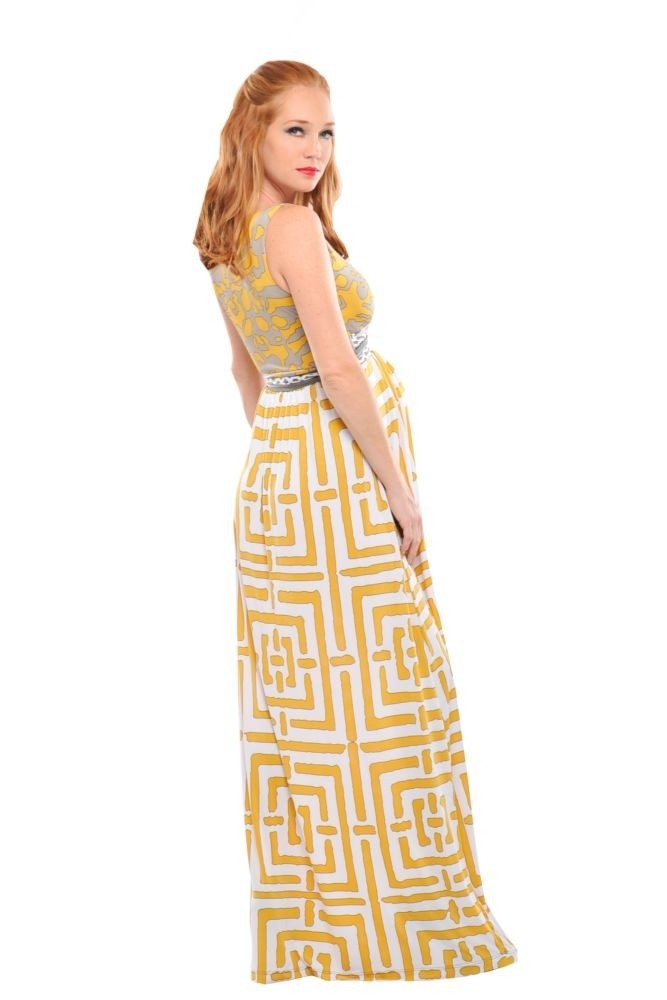 Brooke Maxi Maternity Dress in Yellow Geometric Print by Olian