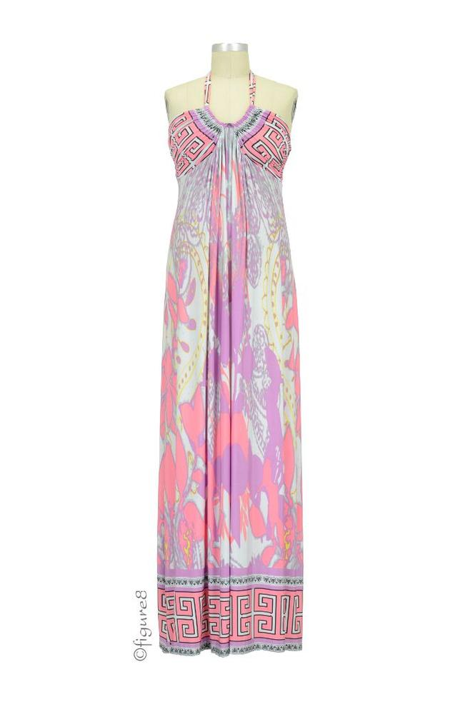 0a2335e9f1 Tamara Maxi Maternity Dress in Pink Abstract Print by Olian