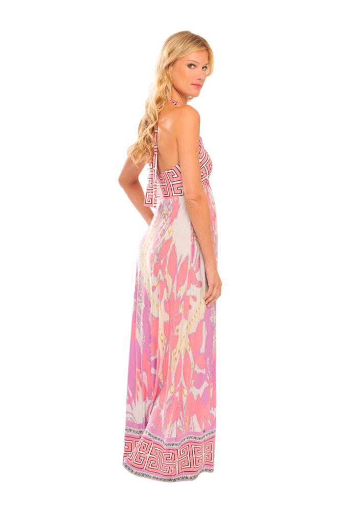 Tamara Maxi Maternity Dress in Pink Abstract Print by Olian