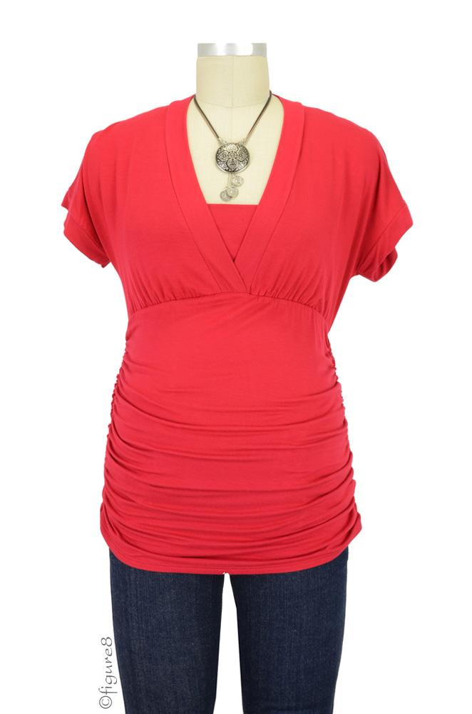 Annie Bamboo D&A V-Neck Nursing Top (Red)