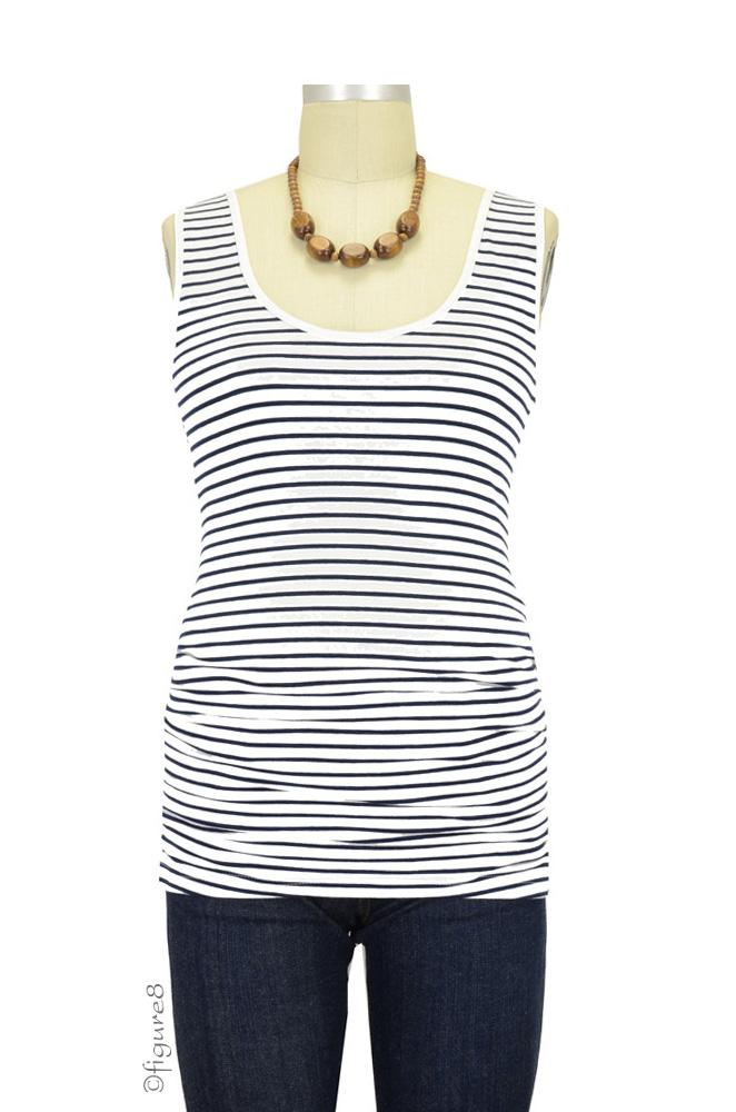 Elise Ruched Maternity Tank (Navy & White Stripes)