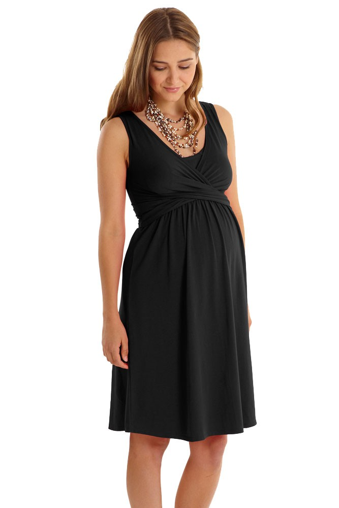 e89aa266fb0 Ava Sleeveless Wrap Maternity & Nursing Dress by Mothers en Vogue (Black)