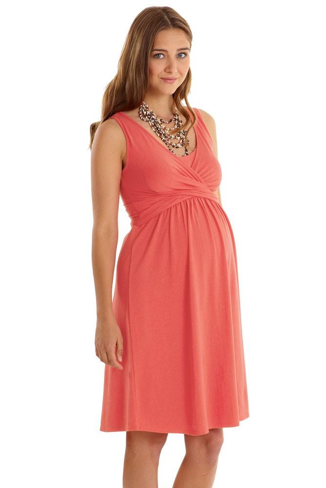 Ava Sleeveless Wrap Maternity Amp Nursing Dress In Nectarine